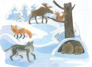 звери зимой