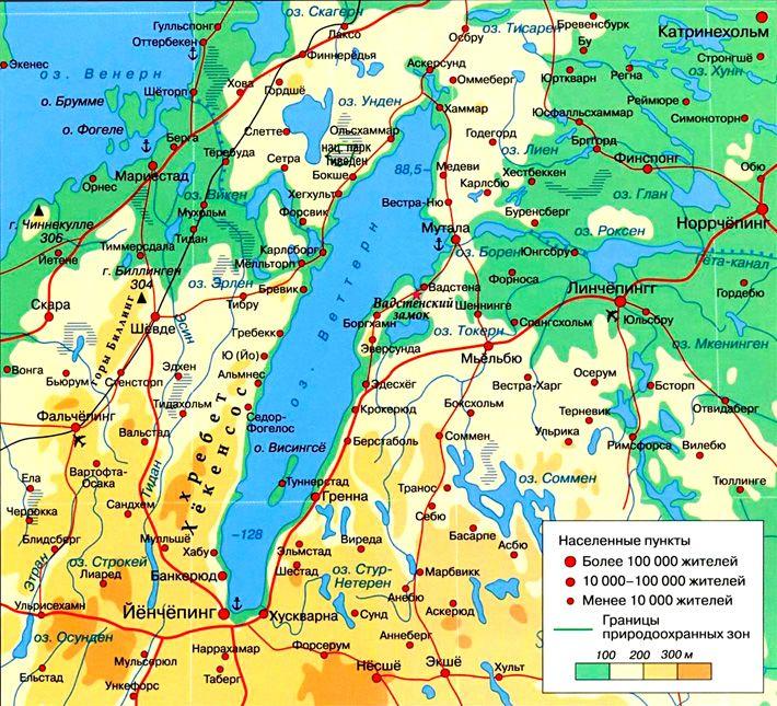 Озеро Венерн на карте фото