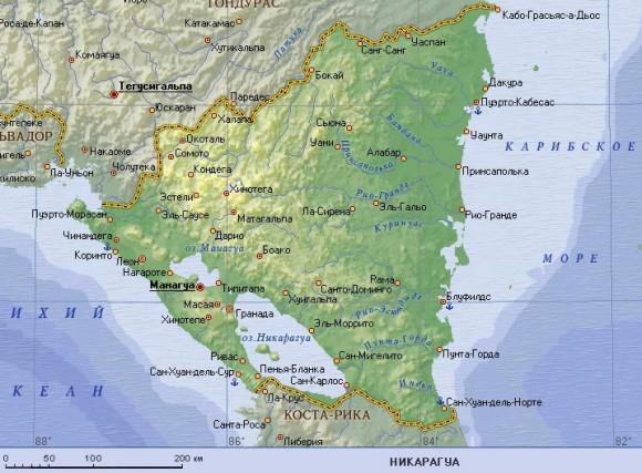 озеро Никарауга на карте